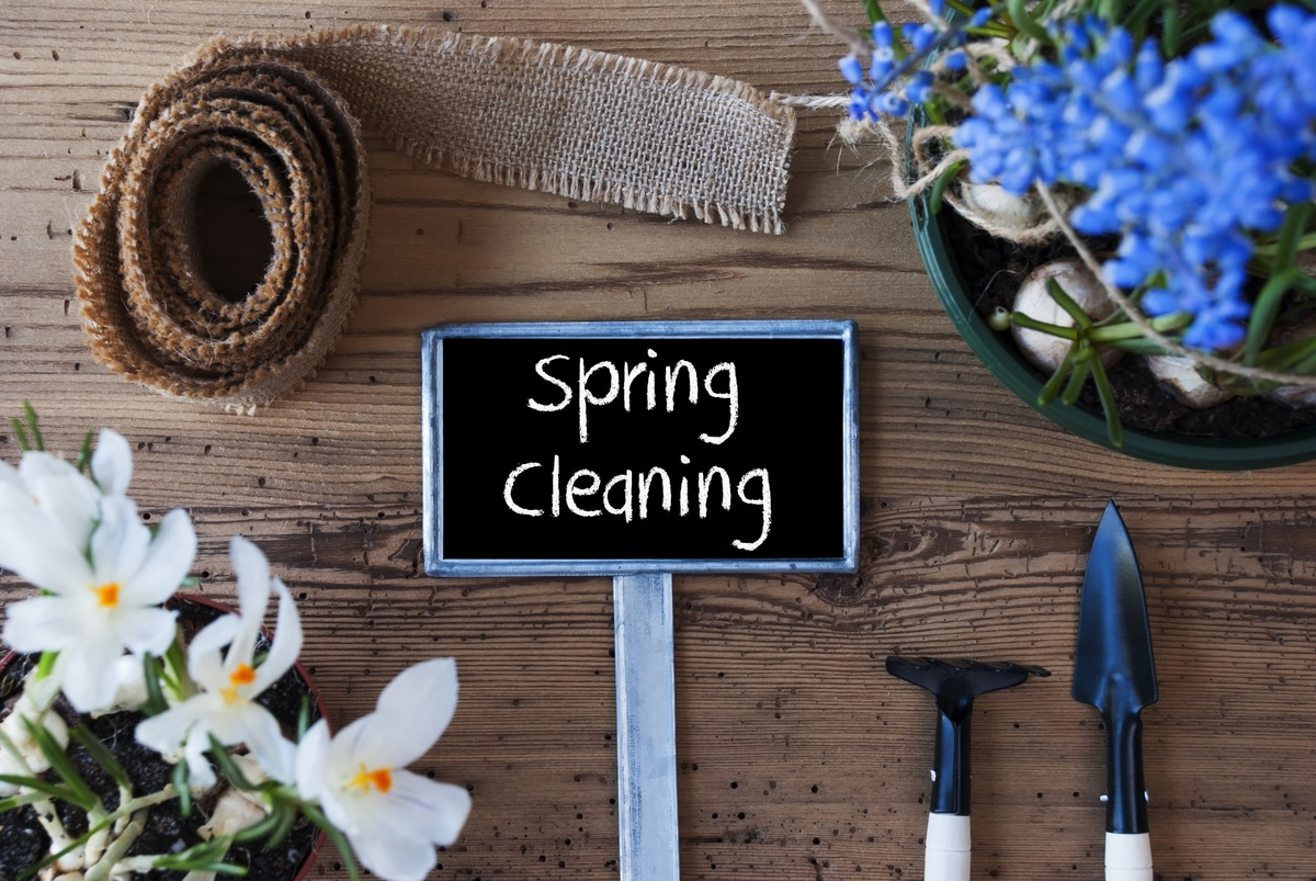 Sign With English Text Spring Cleaning. Spring Flowers Like Grape Hyacinth And Crocus. Gardening Tools Like Rake And Shovel. Hemp Fabric Ribbon. Aged Wooden Background